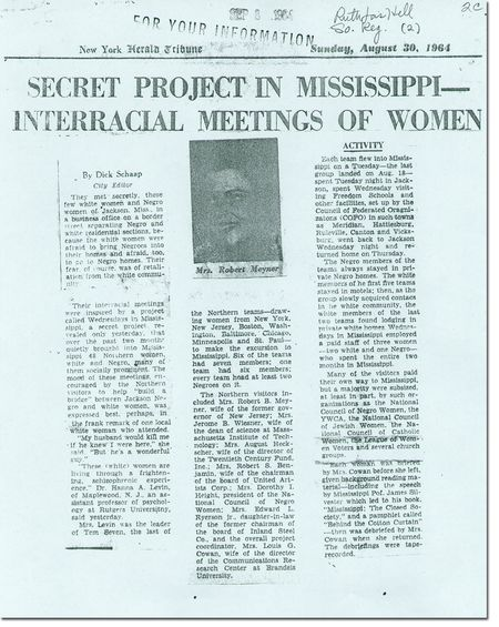 Dorothy Height, Wednesdays In Mississippi, Polly Cowan, Secret Project in Mississippi, interracial meetings of women 1964, NY Herald Tribune 1964
