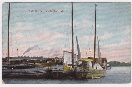 Burlington VT, dock scene, wooden boats, turn of the century boat,