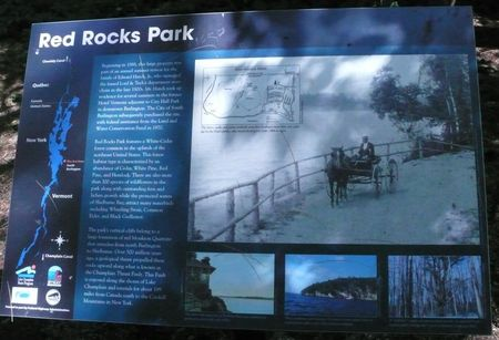 Red Rocks Park sign, south Burlington Vermont