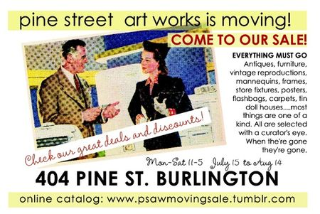 Psaw moving sale postcard