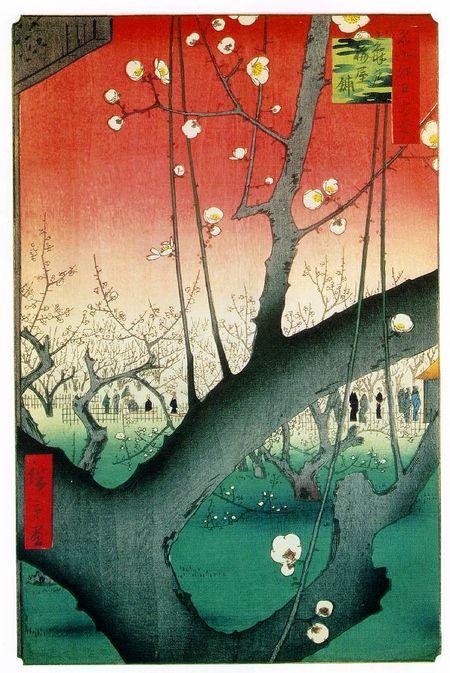 Utigawa Hiroshige, apricot garden, woodblock print