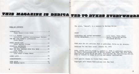 DYKE A QUARTERLY #1 table of contents