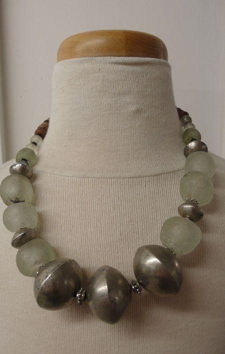 Small equals Saada necklace pate de verre larget tuaret nickel wood photo by Liza Cowan