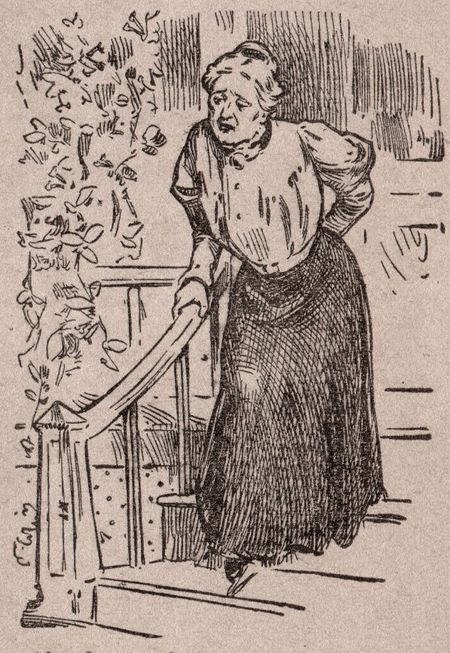 aching back, Rheumatism 1912, detail, woman with bad back, woman holding her back, medicine 1912