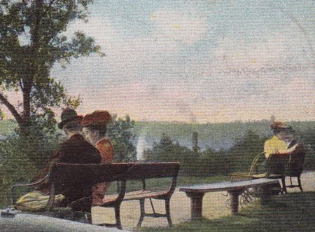 Battery Park Burlington Vermont 1906 detail, couple on bench,