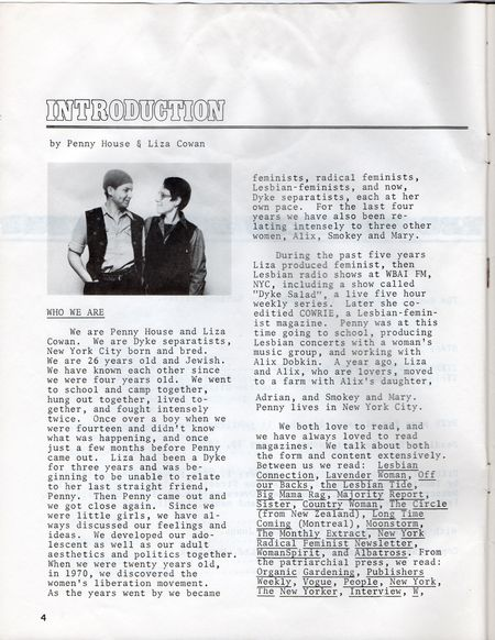 DYKE A QUARTERLY ISSUE 1. P.3 INTRODUCTION