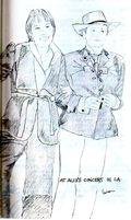 Amy and Phranc, LA 1975, drawing be Liza Cowan