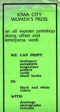 Iowa city women's press flier circa 1975