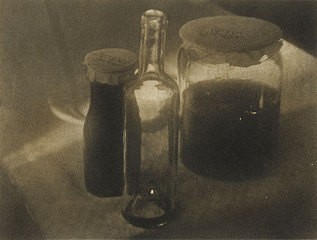Heinrich kuhn, still life with glasses, 1914, brown pigment print ©.kicken Berlin