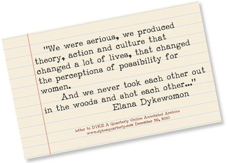 Elana Dykewomon letter to DYKE  A Quarterly Online Archive 2