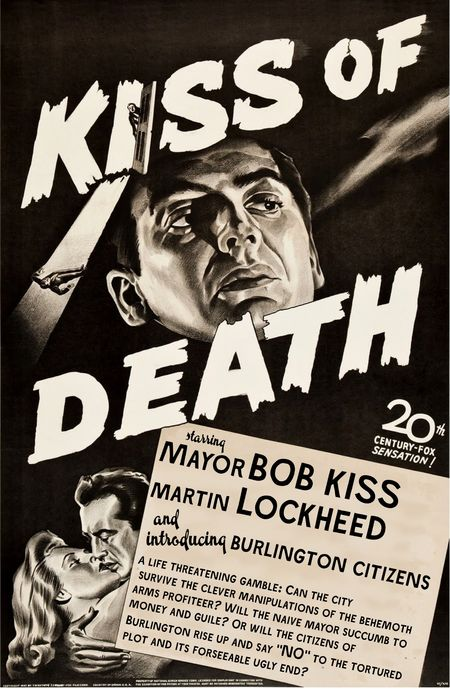 Kiss Of Death movie poster adapted by Liza Cowan for NoLockheed Burlington VTter