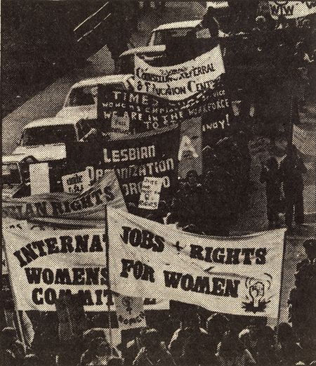 Jobs = rights for women, Toronto, international women's day from The Body Pollitc may 1979