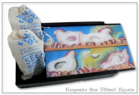 Keepsake box, small equals, chicken painting by Liza Cowan