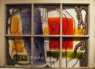 LIZA LEGER  AKA LIZA COWAN REVERSE PAINTING ON OLD WINDOW