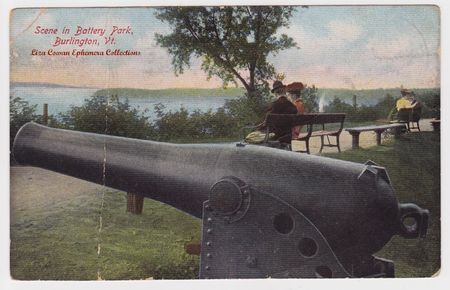 Postcard burlington vt scene in battery park Liza Cowan Ephemera Collections