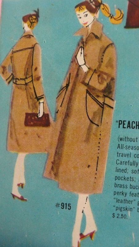 Barbie booklet 1958, peachy fleecy coat detail.