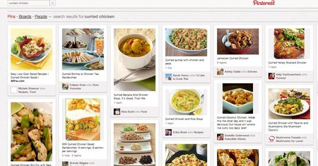 Pinterest curried chicken recipies screen shot