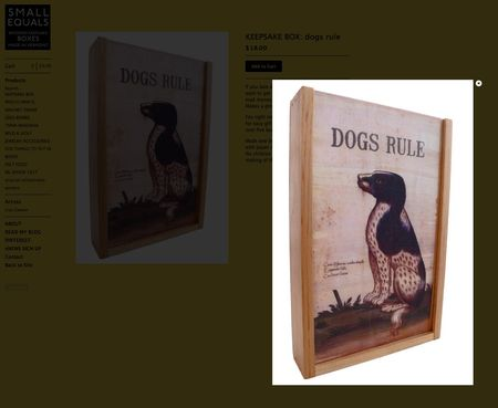 Screen shot small equals big cartel online store close up dogs rule keepsake wooden box