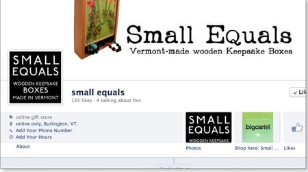 Small equals facebook page screenshot with big cartel app