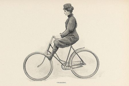 how to coast illustration ME Ward Bicycling for Ladies from photo by alice austen