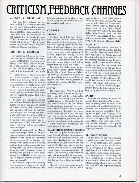 Dyke A Quarterly, 1976,  No 3 p 3