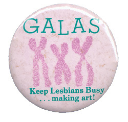 Great american lesbian art show, 1980, button, los angeles, the womans building
