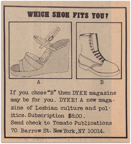 Dyke a quarterly ad which shoe fits you circa 1976