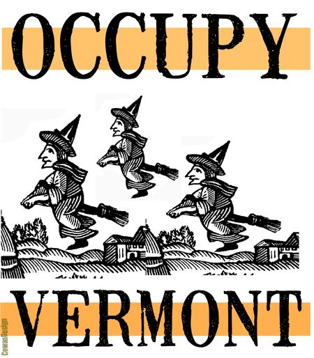 WITCHES OCCUPY VERMONT with orange cropped and signed