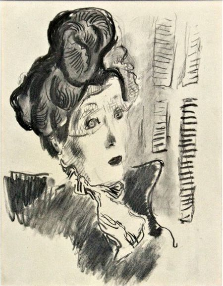 Tibor gergely charcoal sketch of woman in hat