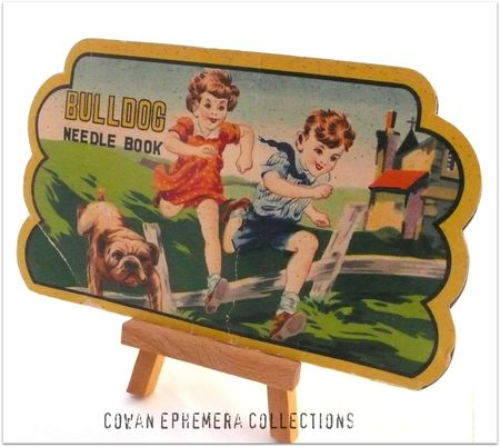 Needle pack bulldog  children running with dog liza Cown ephemera collections