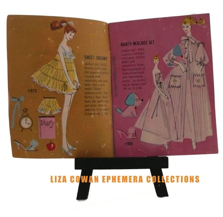 Barbie booklet 1958 sweet dreams, nighty negligee, liza cowan ephemera collections
