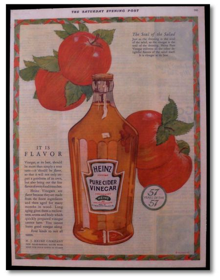 Heinz pure cider vinegar saturday evening post 1925 small equals