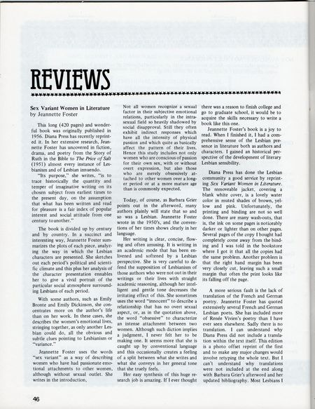 Dyke No 3 p 46, review of Sex Variant Women In Literature Jeanette foster written by Penny House