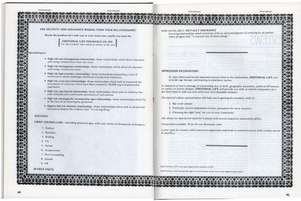 Emotional Life Insurance Certificate, DYKE A Quarterly #3, 1976