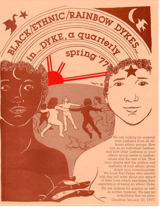 Dyke a quarterly flier for Black ethnic rainbow dykes illustration by roberta gregory 1976