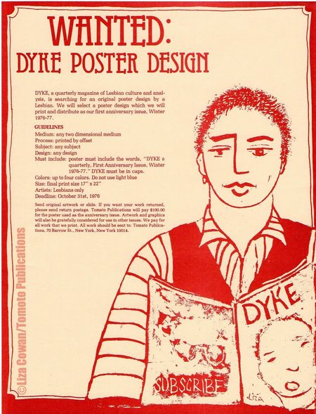 Signed dyke a quarterly flier for poster issue illustration by liza cowan