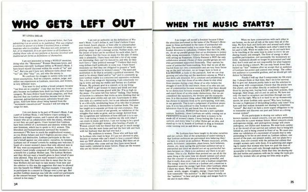 DYKE A Quarterly No. 2,  pp. 34, 35Who gets left out when the musc starts by Linda Shear