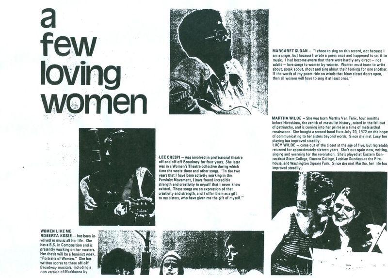 A few loving women lesbian feminst liberation back cover courtesy queermusicheritage