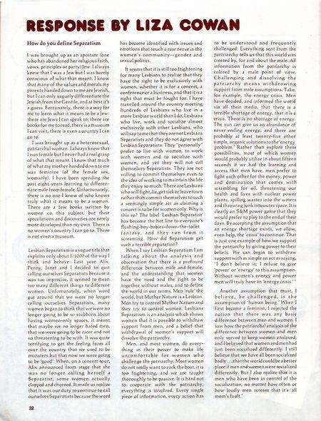 dyke a quarterly 1978 No. 6, p. 32. separatist symposium, liza Cowan
