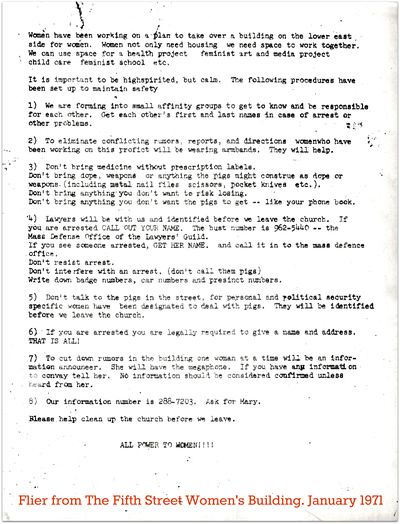 5the street womens bldg flier January 1971...women have been working on a plan