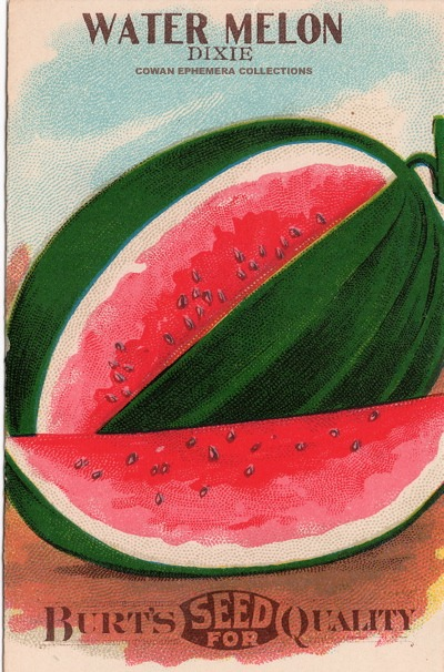 WATERMELON DIXIE BURT'S SEEDS COWAN EPHEMERA COLLECTIONS