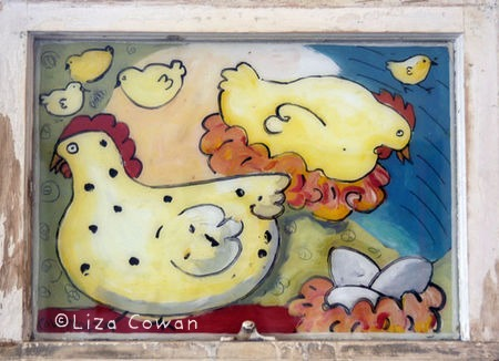 Liza cowan reverse painting on glass chickens