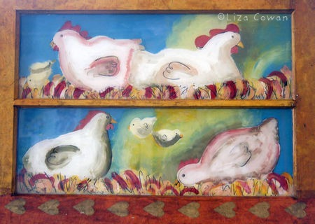 Liza cowan reverse painting on glass four chickens