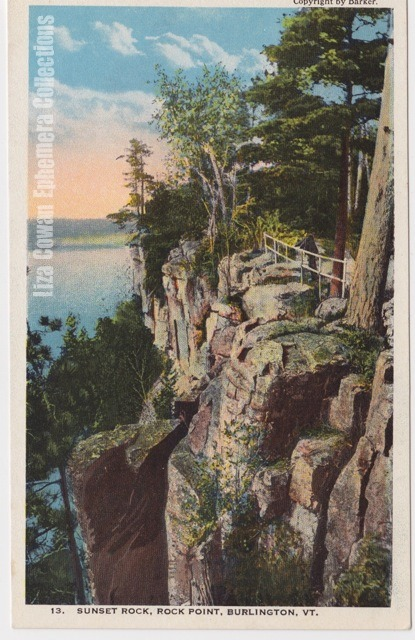 Postcard burlington vermont sunset rock rock point liza cowan ephemera collections