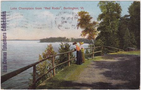 Postcard burlington vermont lake champlain from red rocks women taking photo liza cowan ephemera collections