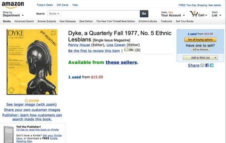 Amazon.com_ Dyke, a Quarterly Fall 1977, No. 5 Ethnic Lesbians_ Penny House, Liza Cowan_ Books