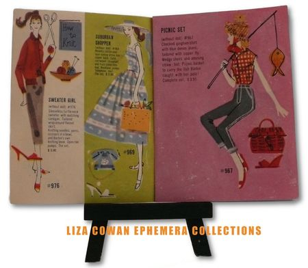 photo ©Liza Cowan. Barbie booklet 1958 Sweater girl, suburban shopper and picnic set