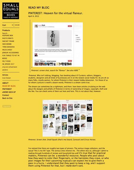 Screenshot small equals store at big cartel showing seesaw blog
