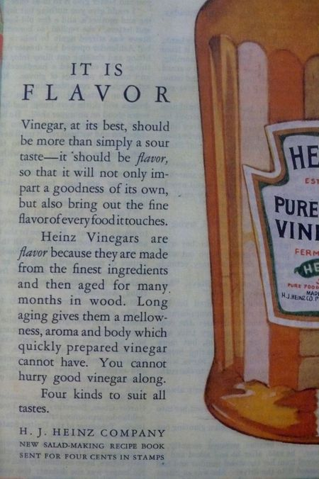 Heinz cider vinegar ad 1925 Saturday evening post, detail