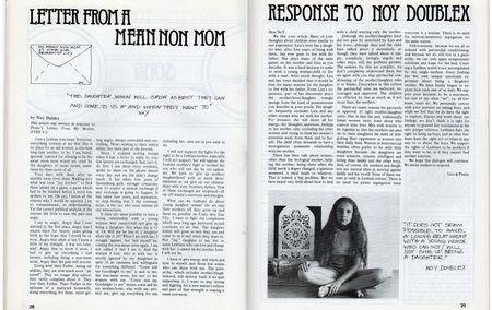 Dyke a quarterly no 3 , pp 28,29, letter from a mean non mom and response to noy doublex